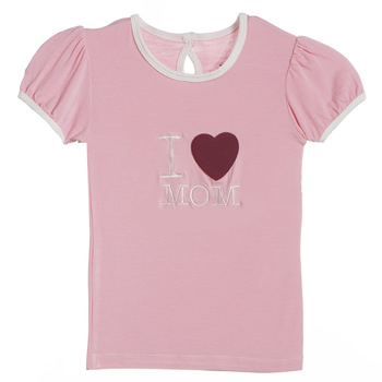 Holiday Short Sleeve Applique Puff Tee in Lotus I Love Mom