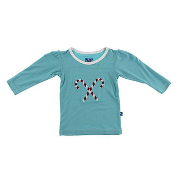 Holiday Long Sleeve Applique Puff Tee in Glacier Candy Cane