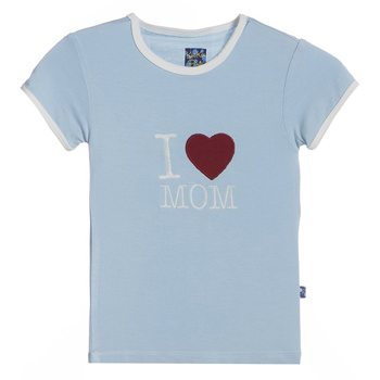 Holiday Short Sleeve Applique Tee in Pond I Love Mom