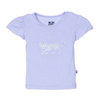 Flutter Sleeve Applique Tee in Lilac Leopard