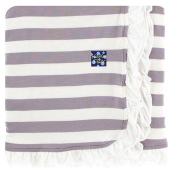 Essentials Print Ruffle Stroller Blanket in Feather Contrast Stripe
