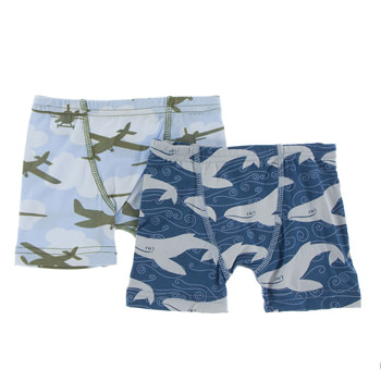 Boxer Briefs (Set of 2) in Pond Airplanes & Twilight Whale