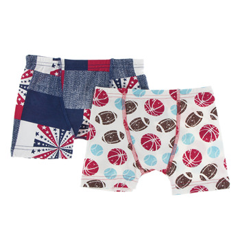 Boxer Briefs (Set of 2) in Natural Sports & Patchwork