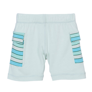 Print Cargo Short in Aloe with Boy Tropical Stripe