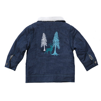 Boy Denim Jacket with Sherpa Lining in Cedars and Elk