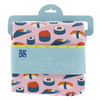 Print Fitted Crib Sheet in Lotus Sushi