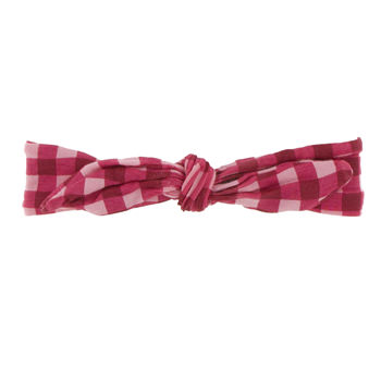Print Bow Headband in Flag Red Gingham