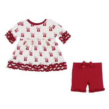 67fafd399c Print Short Sleeve Babydoll Outfit Set in Natural Gumball Machine