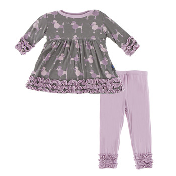 Long Sleeve Babydoll Outfit Set in Cobblestone Poodle