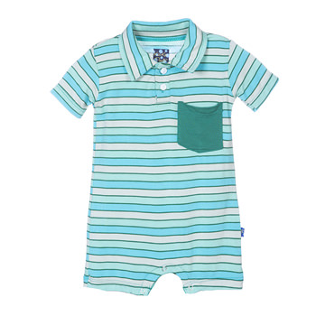 Polo Romper with Pocket in Boy Tropical Stripe