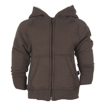 Zip-Front Hoodie with Sherpa-Lined Hood in Bark