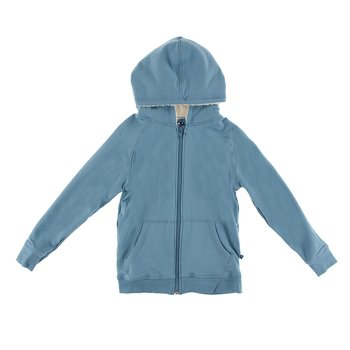 Fleece Zip-Front Hoodie with Sherpa-Lined Hood in Blue Moon
