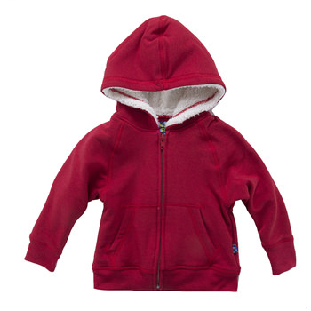 Zip-Front Hoodie with Sherpa-Lined Hood in Crimson