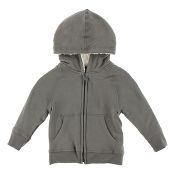Zip-Front Hoodie with Sherpa-Lined Hood in Cobblestone