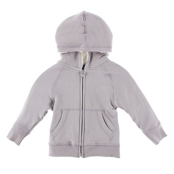 Zip-Front Hoodie with Sherpa-Lined Hood in Feather