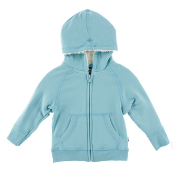 Fleece Zip-Front Hoodie with Sherpa-Lined Hood in Glacier