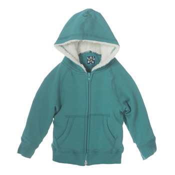 Fleece Zip-Front Hoodie with Sherpa-Lined Hood in Lagoon