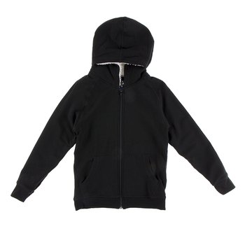 Zip-Front Hoodie with Sherpa-Lined Hood in Midnight