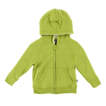 Fleece Zip-Front Hoodie with Sherpa-Lined Hood in Meadow