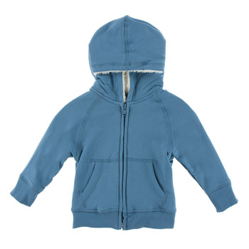 Zip-Front Hoodie with Sherpa-Lined Hood in Parisian Blue