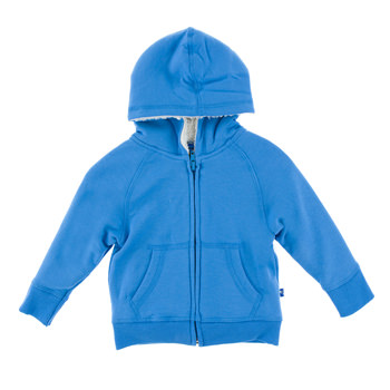 Fleece Zip-Front Hoodie with Sherpa-Lined Hood in River