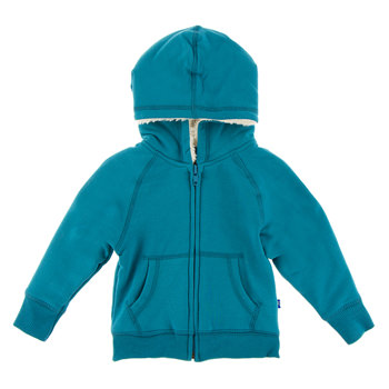 Fleece Zip-Front Hoodie with Sherpa-Lined Hood in Seagrass