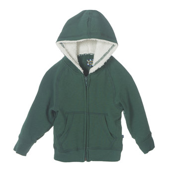 Fleece Zip-Front Hoodie with Sherpa-Lined Hood in Seaweed