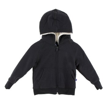 Fleece Zip-Front Hoodie with Sherpa-Lined Hood in Zebra