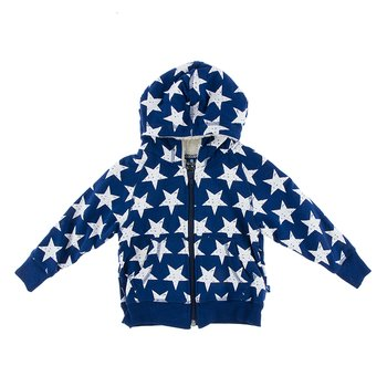 Fleece Zip-Front Hoodie with Sherpa-Lined Hood in Vintage Stars