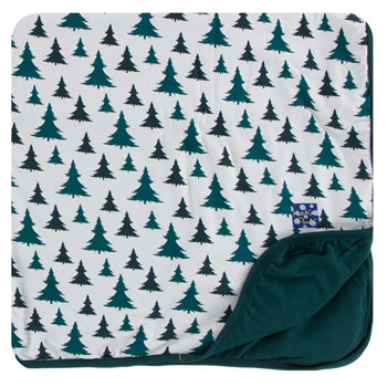 Print Toddler Blanket in Natural Christmas Trees