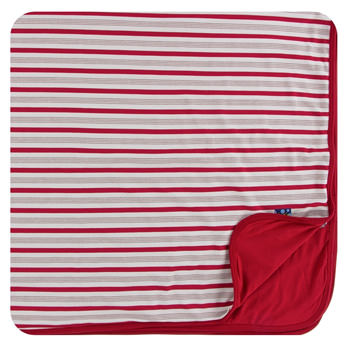 Print Toddler Blanket in Rose Gold Candy Cane Stripe