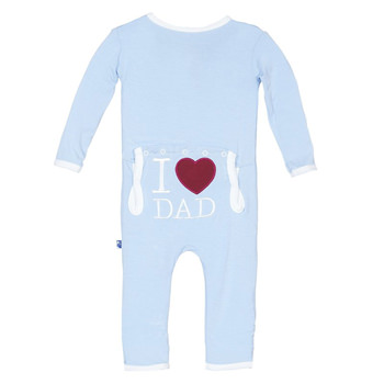 Holiday Applique Coverall in Pond I Love Dad
