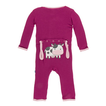 Applique Coverall in Berry Cow
