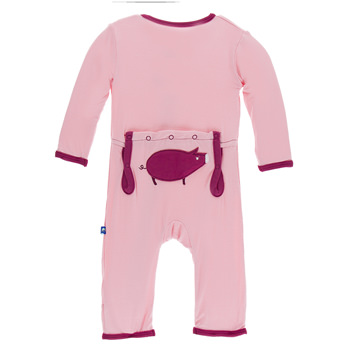 Applique Coverall in Lotus Pig