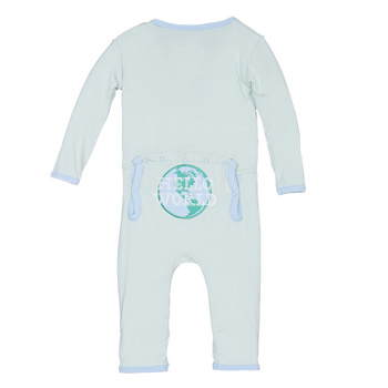 Holiday Fitted Applique Coverall in Aloe Hello World