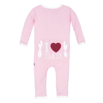 Holiday Fitted Applique Coverall in Lotus I Love Dad