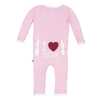 Holiday Fitted Applique Coverall in Lotus I Love Mom