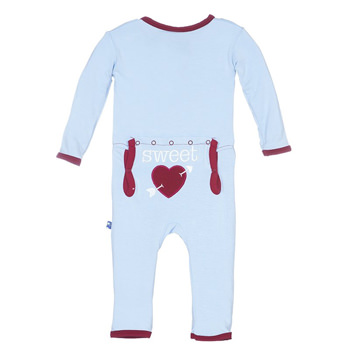 Holiday Fitted Applique Coverall in Pond Sweetheart