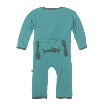 Fitted Applique Coverall in Lagoon Hammerhead