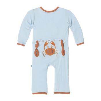 Fitted Applique Coverall in Pond Crabby
