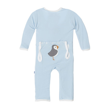 Fitted Applique Coverall in Pond Puffin