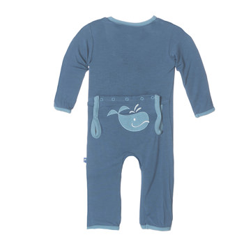 Fitted Applique Coverall in Twilight Tiny Whale
