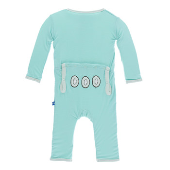 Fitted Applique Coverall in Glass Kiwi