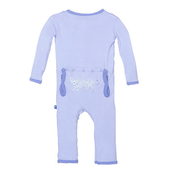 Fitted Applique Coverall in Lilac Leopard