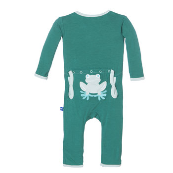 Fitted Applique Coverall in Shady Glade Tree Frog