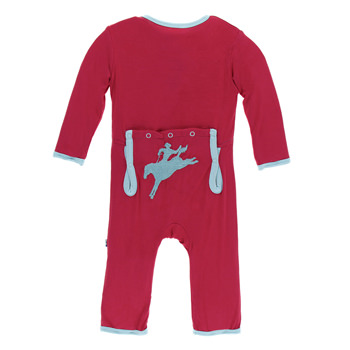 Applique Coverall in Flag Red Cowboy