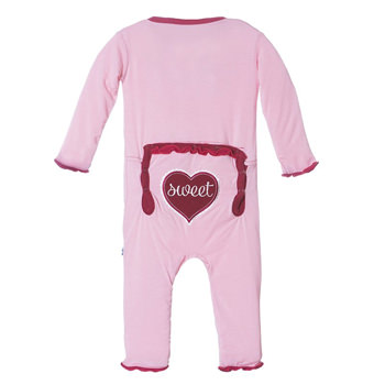 Holiday Muffin Ruffle Applique Coverall in Lotus Sweetheart