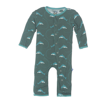 Print Fitted Coverall in Seaweed Dolphin