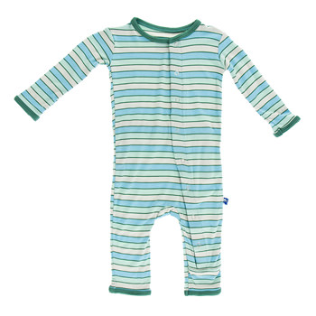 Print Fitted Coverall in Boy Tropical Stripe