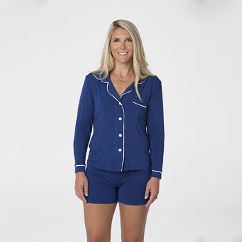 Solid Women's Collared Pajama Set with Shorts in Flag Blue with Natural Trim